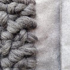 Pretty detail of the knitted scarf, soon available in the webshop #renskeversluijs #knitting #scarf #wool #leatheraccessories #accessories #instaknit #webshop