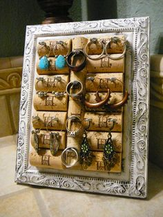 Mother's Day / Jewelry Holder / Jewelry Organizer / Picture Frame / OOAK/ Vanity Display/ Napa Valley. $29.99, via Etsy.