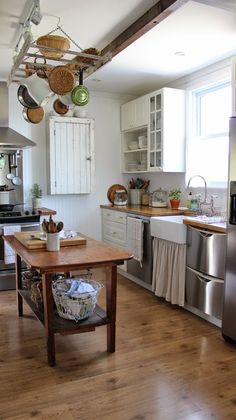 Great solution for open shelving and still providing some hiding places for the mismatched stuff. Farmhouse Style Kitchen, Kitchen Redo, Rustic Kitchen, Vintage Kitchen, Kitchen Dining, Kitchen Remodel, Rustic Farmhouse, Farmhouse Kitchens, Kitchen Ideas