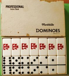 Vintage Texas A And M Aggies Extra Thick Dominoes Set With A And M Logo On Dominoes