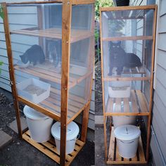 DIY outdoor cat litter box/ catio made using an IKEA Hejne shelf, Plugis litter box, Knodd litter/ supply storage and various hardware supplies. IKEA hack for cat people who can't stand indoor litter boxes. #catsdiylitterbox #catsdiyhacks