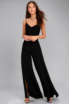 Head to the VIP in the Out Tonight Black Two-Piece Jumpsuit! Woven fabric shapes this sleek and sexy set with a crop top and wide-leg pants. Two Piece Jumpsuit, Jumpsuit With Sleeves, Two Piece Dress, Black Jumpsuit, Two Piece Outfits Pants, Prom Two Piece, Black Two Piece, Rompers Dressy, Cute Rompers