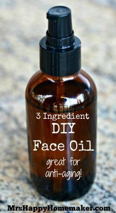 3 Ingredient DIY Face Oil - Great for Anti-Aging! - There is also a list of ingredients you can use instead to make your very own customized face oil to combat all sorts of skin problems such as adult acne, dry skin, & more!
