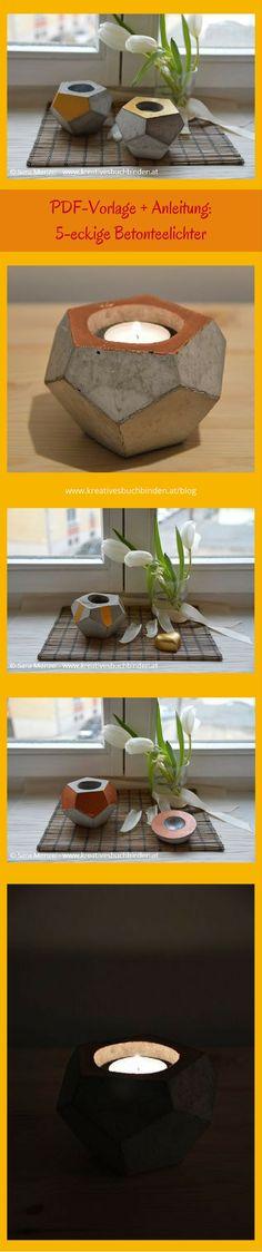 Mach dir aus Kreativbeton wunderbare Dekoration: in dieser Anleitung zeige ich dir wie du ein 5-eckiges Teelicht bastelst  Bastelanleitung   Gechenksidee   Beton gießen Ideen