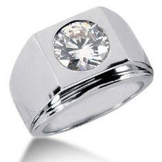 3.0 Ct Men Diamond Ring Wedding Band Round Cut Bezel 14k White Gold, via mens rings