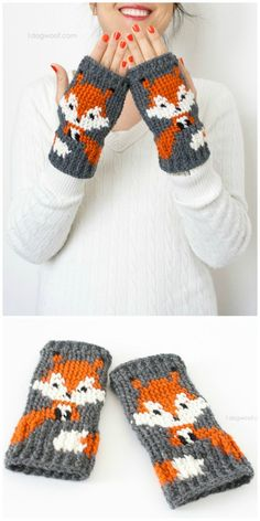 Crochet Fox Fingerless Gloves Pattern - 50 Free Crochet Fox Patterns - Crochet F. Crochet Fox, Crochet Mittens Free Pattern, Baby Knitting Patterns, Crochet Stitches, Free Crochet, Crochet Patterns, Hat Patterns, Pattern Ideas, Knitting Ideas