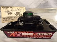 Aurora AFX Model A 1930 Ford Coupe #1928 HO Slot Car Original Box Magna Traction #Aurora #Ford