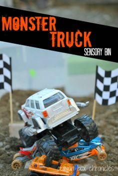 Monster Truck Sensory Bin by Crayon Box Chronicles