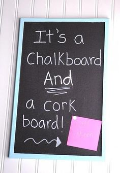 Cork board painted with black chalkboard paint