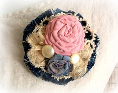 DENIM DREAMS in Pink and Blue - Boho Fabric Flower Brooch
