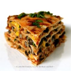 A Little Bit Crunchy A Little Bit Rock and Roll: Stacked Black Bean Enchilada Pie
