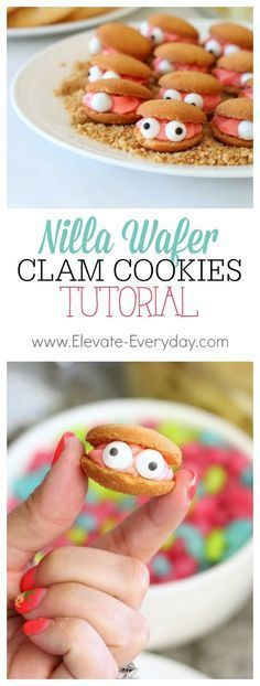 Super easy tutorial on how to assemble these cute little clam cookies for a mermaid or pirate birthday party (easy party snacks desserts) Kinder Party Snacks, Birthday Party Snacks, Moana Birthday Party, Moana Party, Luau Birthday, Snacks Für Party, Birthday Ideas, Beach Party Desserts, Mermaid Birthday Party Ideas