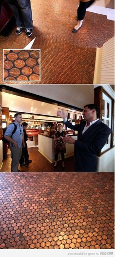 Funny pictures about Copper Penny Floor. Oh, and cool pics about Copper Penny Floor. Also, Copper Penny Floor photos. Penny Tile Floors, Copper Penny, Decoration, Home Projects, Home Remodeling, Home Improvement, Sweet Home, At Least, House Design