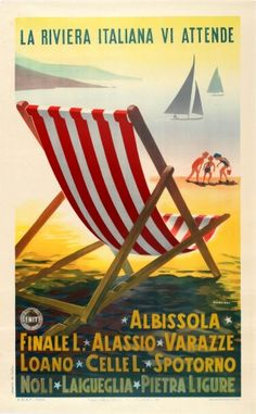 View this item and discover similar for sale at - Original vintage ENIT travel advertising poster: The Italian Riviera awaits you / La Riviera Italiana Vi Attende – Albissola, Finale L. Vintage Italian Posters, Pub Vintage, Vintage Travel Posters, Summer Poster, Retro Images, Party Poster, Advertising Poster, Illustrations, Malta