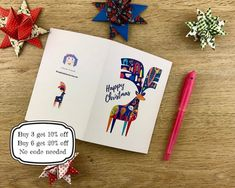 3. Scandi Stag Christmas Card. Printable. Easy to print. image 1
