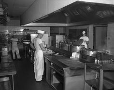 Chefs at work in a kitchen in Petawawa in the 1940's