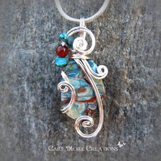 Blue Jasper Wire Wrapped Pendant Necklace in Silver by CareMoreCreations.com, $25.00