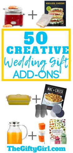 50 Creative Ideas to take Wedding Gifts to the Next Level. These are simple ways to add onto wedding registry gifts to make them thoughtful, more useful and more fun! These also work great for housewarming gifts or gifts for college students. #weddinggift #giftideas #giftguides #registrygifts #collegegifts #backtoschoolgift #housewarminggift #thoughtfulgifting