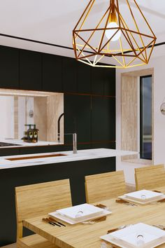 Contemporary kitchen and dining room at the Mulberry. Blending graphic strong colours with natural elements of copper & oak. Dining Room Inspiration, Interior Inspiration, New Kitchen, Kitchen Dining, Dining Room Design, Kitchens, Copper, Strong, Colours