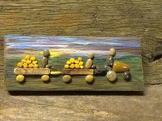"Pebble art ""Bringing in the pumpkins"" Www.sticksnstonesart.ca, See us on Facebook, #crafts #pebble #stone #painting #barnboard #handmade"