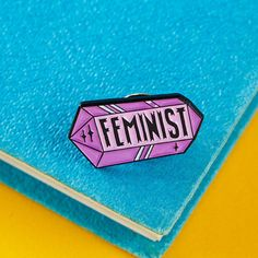 Feminist Crystal Enamel Pin with rubber back // lapel pins, feminism, feminist pin, international womens day