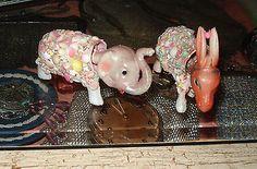 Vintage Seashell Art Celluloid Donkey Elephant Nodders Republican Democrat Pr