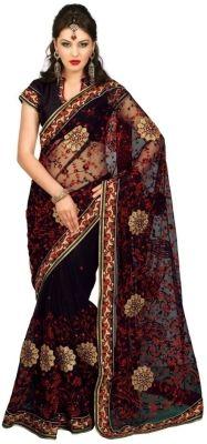 Chirag Sarees Self Design Fashion Net Sari - Buy Black Chirag Sarees Self Design Fashion Net Sari Online at Best Prices in India | Flipkart.com