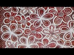 Painting a Gelli Print - Red & White Flowers #Doodle #Doodling #GelliPrint