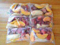 Make frozen smoothie packs every Sunday to last the whole week. When you're ready to enjoy a smoothie just pick a bag and blend! Simple and quick :)