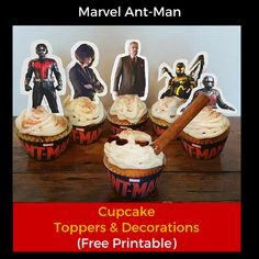 Free Marvel AntMan Cupcake Toppers and Decorations Printable