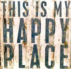 Primitives by Kathy This is My Happy Place - Vintage Plank Board Beach Coastal Decor Box Sign - Jumbo x