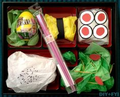 bento box with tissue paper food