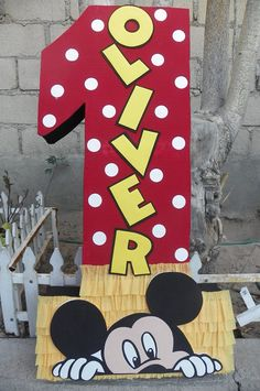 Piñata #1 Mickey Mouse Mickey Mouse Pinata, Mickey Mouse Letters, Mickey Mouse Birthday Decorations, Mickey Party, Smash Cake First Birthday, Mickey 1st Birthdays, Mickey Mouse 1st Birthday, Baby Mickey, Miki Mouse