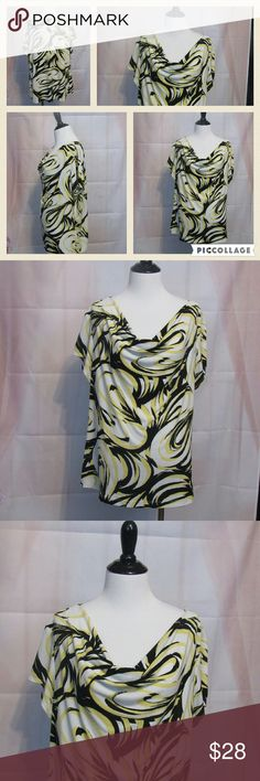 """Chico's White Yellow Black Top 3 XL Great Condition. Scoop Neck. Short sleeve. Casual or work.   All clothes are in excellent used condition. No stains or holes.  Content: 92% polyester 8% spandex  Bust: 44"""" Length: 25""""   Posh11 Chico's Tops Blouses"""