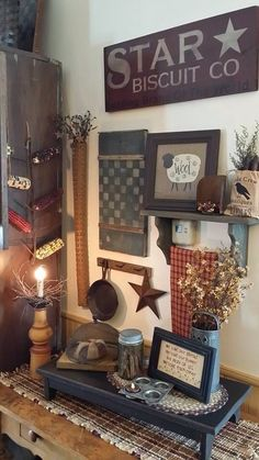 I just bought a candle/light just like this one on Ebay!!!  It is sooo gorgeous and a really wonderful addition to my country/prim home - I actually have several pieces very similar to many of the pieces here in this pic scattered in my various prim vignettes.... :) !!!!!!