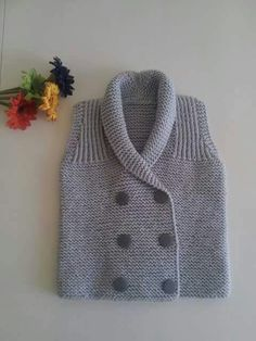Ideas For Crochet Baby Boy Sweater Grey Baby Knitting Patterns, Baby Boy Knitting, Knitting For Kids, Knitting Designs, Baby Patterns, Hand Knitting, Baby Boy Vest, Baby Boy Sweater, Knitted Baby Cardigan