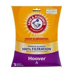 Arm & Hammer Premium Filtration Odor Eliminating Vacuum Bags, Hoover A Premium, 3 Pack