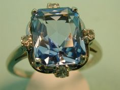 14k Blue Emerald Cut 4 ct Topaz Diamond Ring  Ring by KimberlyHahn, $395.00