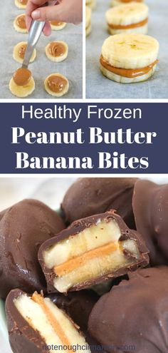 Frozen Chocolate Peanut Butter Banana Bites You only need three ingredients – chocolate, peanut butter and bananas – to make these delicious healthy frozen treats. They are super easy to make, clean eating, gluten-free,. Good Healthy Recipes, Healthy Sweets, Healthy Chocolate Snacks, Healthy Deserts, Simple Food Recipes, Healthy Junk Food, Clean Eating Chocolate, Food Ideas, Healthy Recepies
