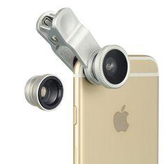DW Universal 3-in-1 Fisheye Wide Angle Macro Camera Lens (Silver)