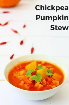 This warmly spiced chickpea and pumpkin stew is perfect autumn comfort food. It's great for batch cooking with leftover pumpkin. It's a delicious easy vegan recipe that's a great way to get lots of your 5 day. via for Spice Savory Pumpkin Recipes, Vegan Recipes Easy, Fall Recipes, Soup Recipes, Amazing Recipes, Bean Recipes, Chili Recipes, Yummy Recipes, Dinner Recipes