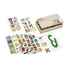 --- thema telspel --- Telspel rond verschillende thema's waarbij de kinderen gelijke hoeveelheden zoeken. Naast ieder plaatje op het themabord wordt het juiste beeldkaartje gelegd. Bij het omdraaien van de kaartjes wordt er een logo zichtbaar (zelfcontrole).   Inhoud:   8 themaborden, 64 beeldkaartjes.  Formaat kist: 34 x 20 x 7 cm (l x b x h). 522 401