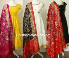 Raw Silk Anarkali's with Ikat Dupattas, anarkali with ikkat silk dupatta, ikat chunni Salwar Designs, Kurti Designs Party Wear, Saree Blouse Designs, Dress Indian Style, Indian Outfits, Indian Clothes, Indian Wear, Long Gown Dress, Long Frock
