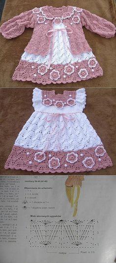 El vestido infantil por el gancho y zhaketik Crochet Baby Dress Free Pattern, Baby Cardigan Knitting Pattern Free, Baby Sweater Patterns, Baby Knitting Patterns, Baby Patterns, Crochet Toddler, Baby Girl Crochet, Crochet Baby Clothes, Crochet Baby Shoes