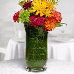 Use a custom engraved memorial vase to display flowers or candles during #wedding ceremony