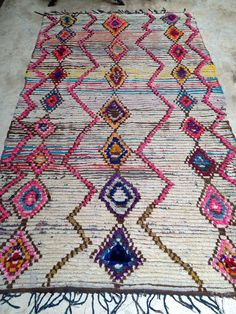 Vintage Moroccan rug - Boucherouite wool $485, $130 ship usd