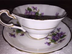 PARAGON FINE BONE CHINA W/ HANDPAINTED PURPLE FLOWERS- EXCELLENT USED CONDITION