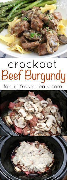 Recipes to Make: Easy Crockpot Beef Burgundy - Family Fresh Meals Crockpot Dishes, Crock Pot Slow Cooker, Crock Pot Cooking, Beef Dishes, Pressure Cooker Recipes, Cooking Recipes, Crockpot Meals, Beef Meals, Crock Pots