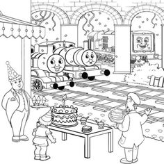 Thomas And Friends Celbrating Happy Birthday At The Station Coloring Page