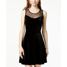 Jump Juniors' Crisscross Bow-Back Velvet Fit-and-Flare Dress ($63) ❤ liked on Polyvore featuring dresses, black, night out dresses, black party dresses, black fit and flare cocktail dress, black dress and criss cross back dress